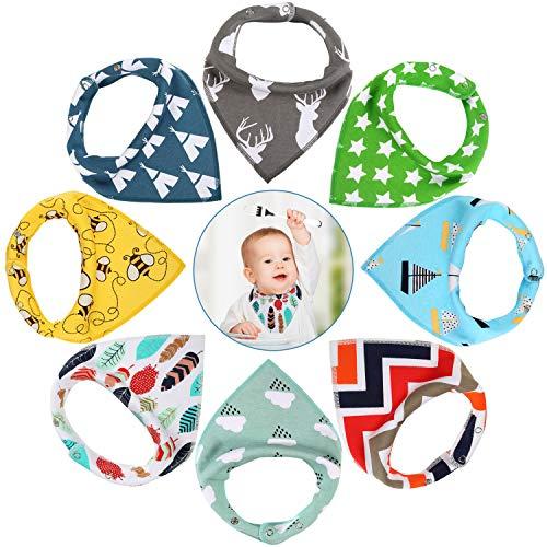 LEADSTAR baby driehoekige doek, 8-delig baby slabbetje absorberend zacht spuugdoek katoen handdoeken met drukknopen voor baby jongens en meisjes peuters Jongens