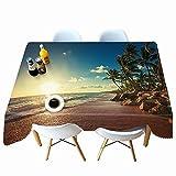 XXDD Mantel con Estampado de Puesta de Sol de Verano, Mantel con patrón de Paisaje de árbol de Coco, Mantel Rectangular, Cubierta de Mesa A5 140x140cm