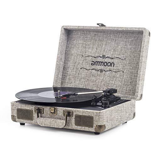 Tocadiscos Vinilo, ammoon Tocadiscos Vintage de 3 Velocidades con Altavoces Incorporados, para Discos de Vinilo de 7/10/12 Pulgadas, Puerto USB/SD/AUX/RCA, Madera Natural