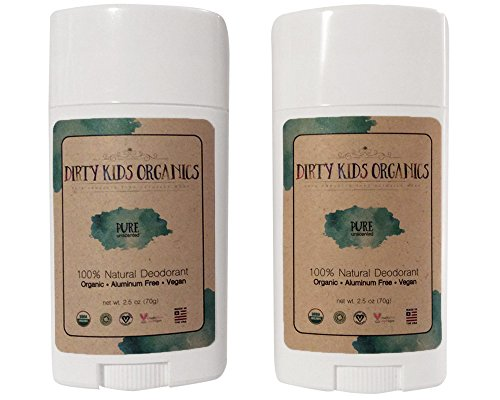 Certified Organic Kid's Deodorant Stick by Dirty Kids Organics - Vegan, Non-Toxic, Non-GMO, Aluminum Free Kids Natural Deodorant for Boys & Girls 24 Hour Kid Deodorant (Pure - Unscented, 2 Pack)
