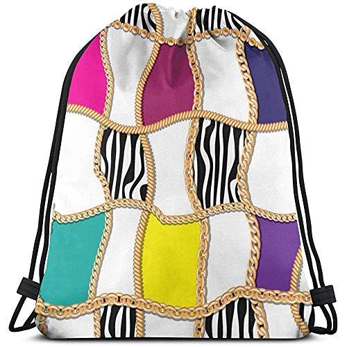 Lemotop Moderne stijl met gouden kettingen afbeelding vectorafbeelding trekkoord tassen rugzak sporttas gym bagage reizen outdoor gepersonaliseerd
