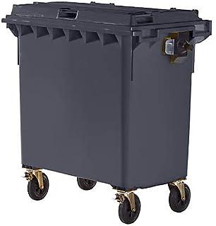 Conteneur à déchets 4 roues en plastique conforme à la norme DIN EN 840 - capacité 770 l - anthracite - collecteur d'ordur...