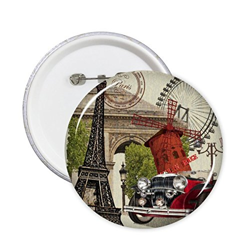 DIYthinker Coche viejo Francia Marca famoso nacional Arquitectura Bandera paisaje personalizado ilustrado modelo alrededor del Pin Badge 5 x Botón S