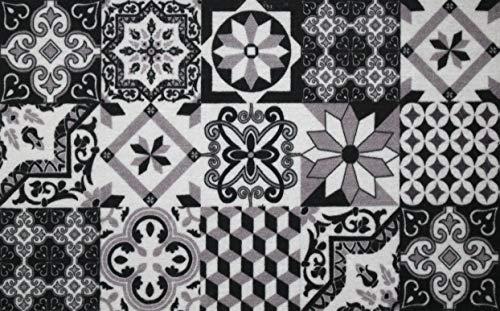 IDMAT 3700023611456 Boston Carreaux Ciment Noir Blanc 50x80 cm int/ext abtrité, Fibres Polyamide, Taille Unique