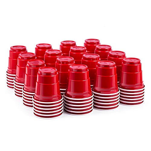 100ct 2oz Shot Glasses Disposable, Cute Red Mini Plastic Cups, Small Size Perfect for Party Games, Jello Shots, Jager Bomb, Tasting, Samples by HAOZAN