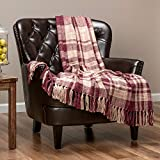 Chanasya Farmhouse Pattern Plaid Throw Blanket Lightweight Knit Textured Woven Decorative Blanket for Couch Bed Living Room Blanket with Tassels Fringed Throw Blanket (50x65 Inches) Maroon Purple