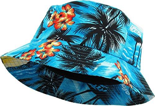 KBETHOS KBM-027 AQU Hawaiian Floral Print Bucket Hat Cap