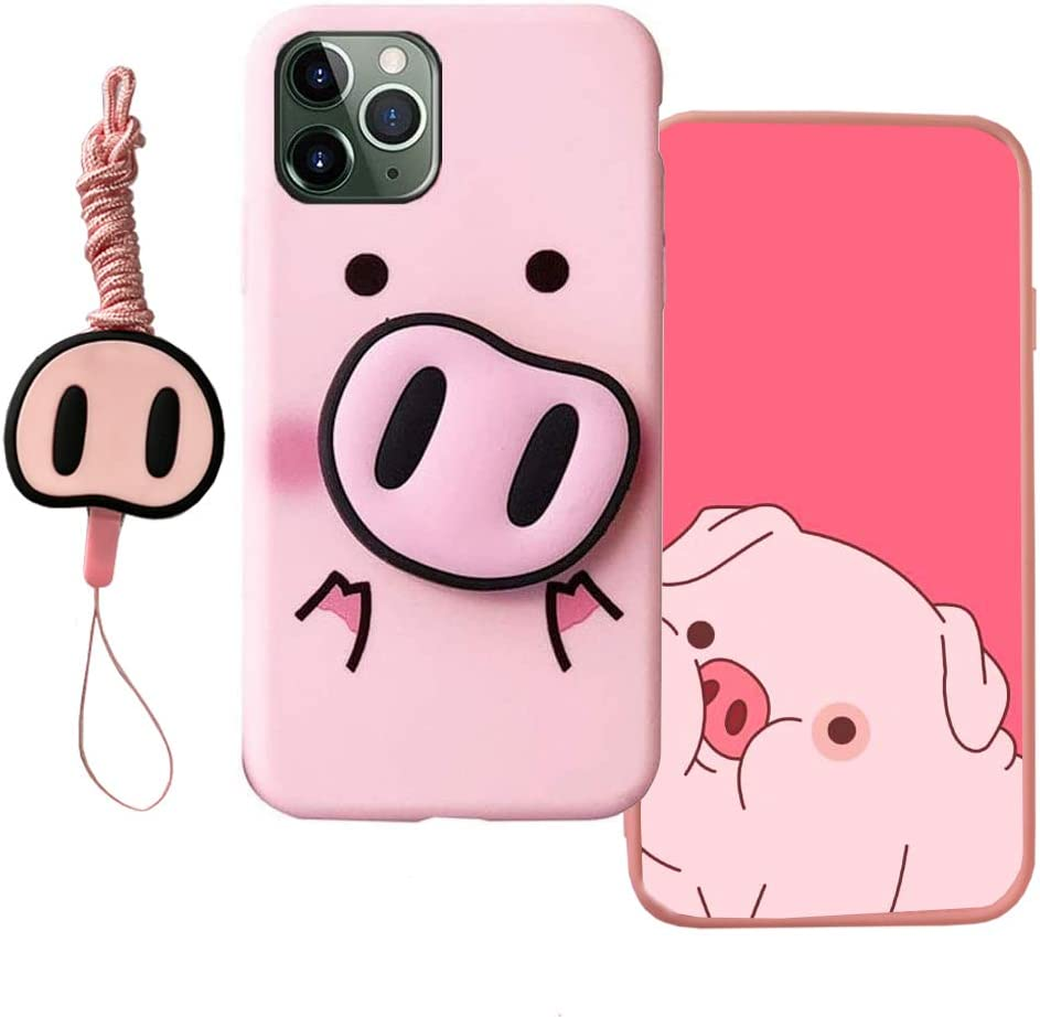 MME Cartoon Case for iPhone X XS - Pink Pig Case Cute 3D Character Case Soft TPU with Phone Stand Holder and Neck Strap Lanyard for Girls (Pink Pig, iPhone X/XS)