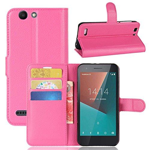 Tasche für Vodafone Smart E8 Hülle , Ycloud PU Kunstleder Ledertasche Flip Cover Wallet Hülle Handyhülle mit Stand Function Credit Card Slots Bookstyle Purse Design Rose Red