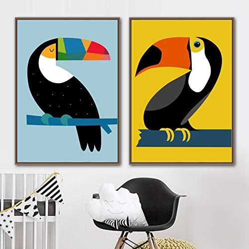 Geen frameAbstracte toekan vogel kwekerij muur canvas schilderij nordic poster en prints cartoon muur foto voor baby kinderkamer dec50x70cm