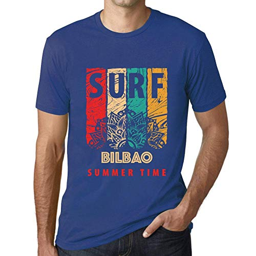 One in the City Hombre Camiseta Vintage T-Shirt Gráfico Surf Summer Time Bilbao Azul Real