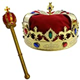 Funny Party Hats Royal King's Crown & Scepter - King Costume - Gold Costume Crown - Dress Up Accessories - 2 Pc