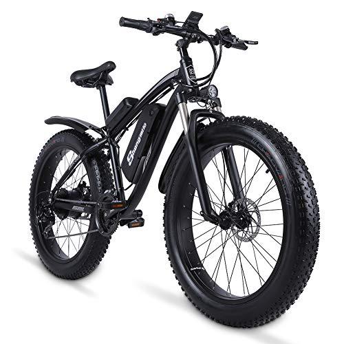 sheng milo MX02S 1000W Elektrofahrrad Elektrisches Mountainbike 26-Zoll-Fettreifen E-Bike 21 Geschwindigkeiten Beach Cruiser Herren Sport Mountainbike Lithiumbatterie Hydraulische Scheibenbremsen