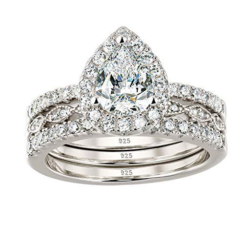 Wuziwen Halo Pear Cut Wedding Ring Set CZ Engagement Rings for Women 925 Sterling Silver Size 6.5