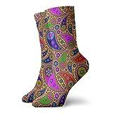 Colin-Design Hippie Paisley Colorido Calcetines Personalizados Deporte Medias Deportivas 11.8 Pulgadas Calcetines De Tripulación Para Hombres Mujeres