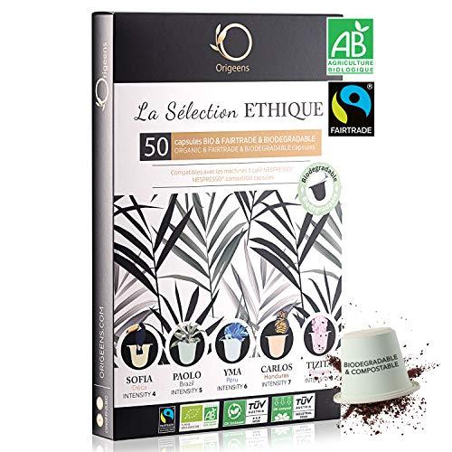 Nespresso Kapseln Kompatibel | BIO FAIRTRADE Arabica Kaffee in Kapseln Biologisch abbaubar | Premium Probierset mit 50 Kaffeekapseln | Traditionelle Röstung