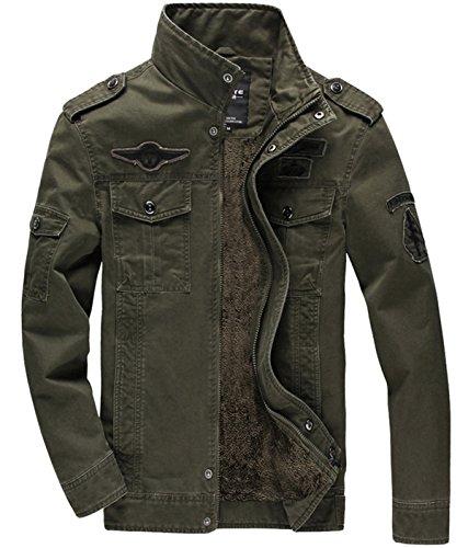 KEFITEVD Giacca Uomo Elegante Slim Fit Inverno Multitasche Giacca Militare Tattica in Pile Uomo con Cerniera Verde Militare