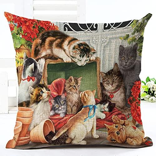 Oukeep Fundas De Almohada Decorativas Serie para Perros Y Gatos, Almohadas para La Siesta del Hogar, Fundas Traseras para Sillas De Oficina, Materiales Lavados De Algodón Y Lino