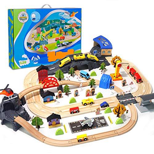 AJAMQ Juguete De Madera Tren De Madera Circuito Coches Pista Construcciones con Tren Eléctrico Educativo Regalo para Niños 3 4 5 6 Años