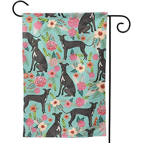 Zome Lag Italiaanse Greyhound Bloemetjes Tuin Vlag Verticale Tweezijdige Lente Zomer Yard Outdoor Decoratieve tuinvlaggen S(48X32) Als afbeelding