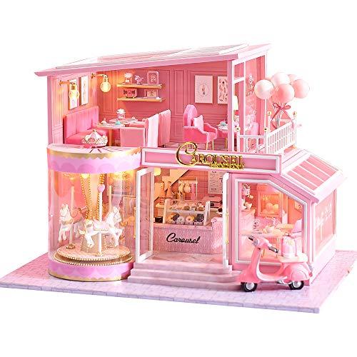 CuteBee DIY木製ドールハウス、CHILDHOOD MEMORISE 、ミニチュアコレクション、LEDライト、プレゼント (A073)