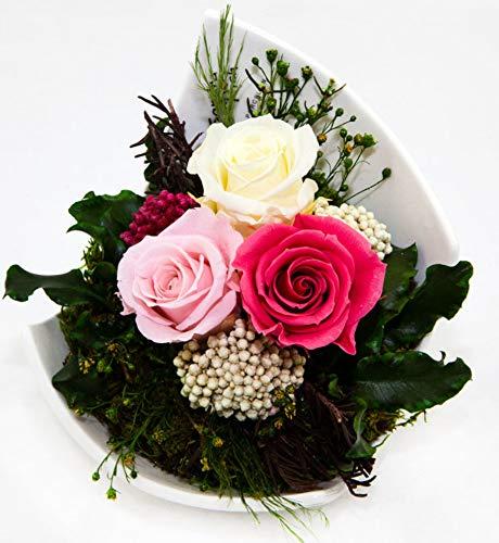 Rosen-Te-Amo Premium Blumenstrauß aus 3 konservierte Rosen in Porzellan Vase Infinity Blumen in der Keramik: mit Liebe...