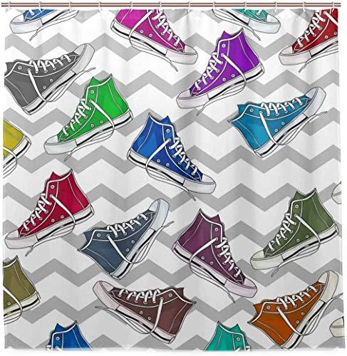 Coloridas Zapatillas de Baloncesto patrón Cortina de Ducha Impermeable Tela de poliéster baño Curtian decoración de baño
