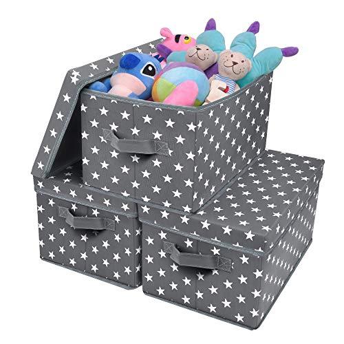 GRANNY SAYS Storage Bin with Lid, Kid's Storage Box, Toy Storage Basket Nursery Storage Containers with Lids, Cute Star Pattern, Dark Gray, 3-Pack