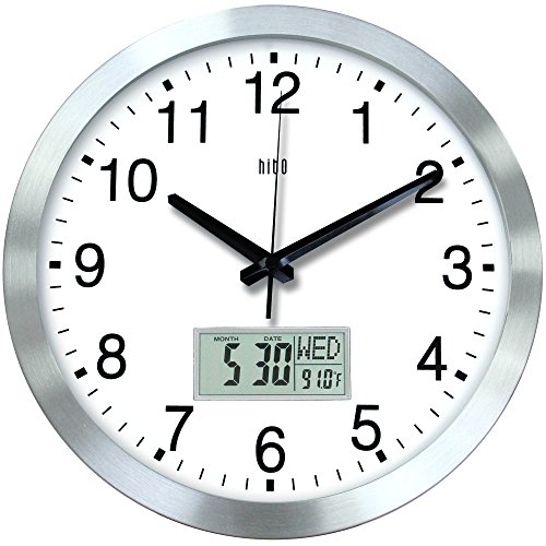 hito 12 Inches Silent Non-Ticking Modern Wall Clock w/Aluminum Frame, Acrylic Front Cover, Date, Indoor Temperature, Week (Silver w/LCD)