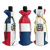 3 piezas de la bandera de la República Dominicana cubierta de botella de vino bolsa de vajilla para decoración