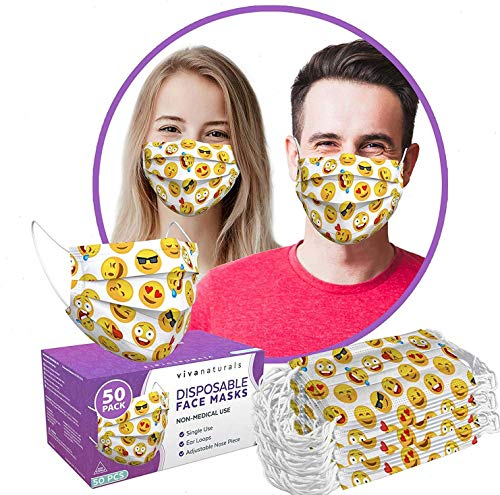 Cartoon Mask (50 Pack) - 3-Ply Cartoon Face Mask, Premium Cartoon Mask with Comfortable Earloops & Adjustable Metal Nose Strip, Non-Medical Disposable Cartoon Face Mask for Indoor and Outdoor Use