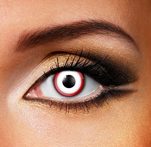 Funky Vision Kontaktlinsen - 3 Monatslinsen, Saw White, Ohne Sehstärke, 1 Stück