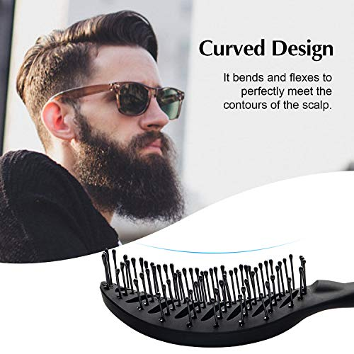 FIXBODY Curved Vent hair Brush for Blow Drying, Styling and Solon, Detangling Hair Brush for Short Thick Tangles Hair, Both Men and Women, Added Extra Volume, Black
