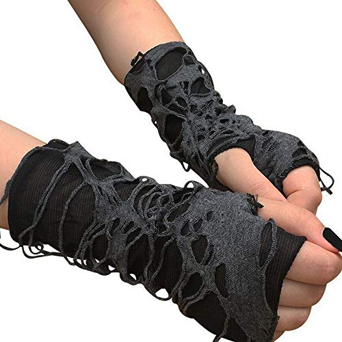 DAIDAIGZ Punk Black Broken Slit Gothic Unisex Glove Fingerless Cuff Sport Mitten Cool Women Men Hollow Out Rock Gloves