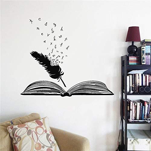 Biblioteca estudio pared calcomanía libro abierto pluma palabras literatura escritor arte pegatinas de pared accesorios de decoración escolar A5 68x57cm