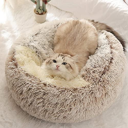 Aujelly Haustierbett - Runder, weicher Plüsch, Höhlen-Katzenbett mit Kapuze, Donut für Hunde und Katzen, Sich selbst erwärmendes Innenschlafbett in Mehreren Größen und Farben Braun 50CM / Small