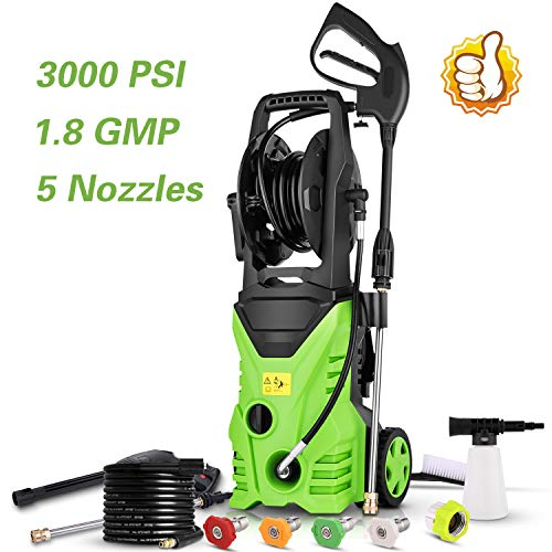 Homdox Electric Pressure Power Washer 3000PSI 1.8GPM High Pressure Power Washer 1800W Machine Cleaner with Hose Reel, 5 Nozzles (Green)