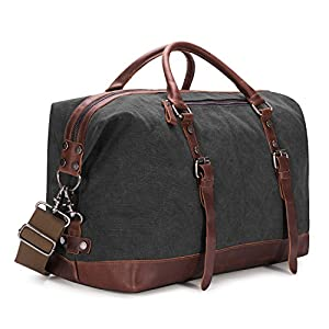 Kattee Genuine Leather Trim Canvas Travel Duffel Bag 45L