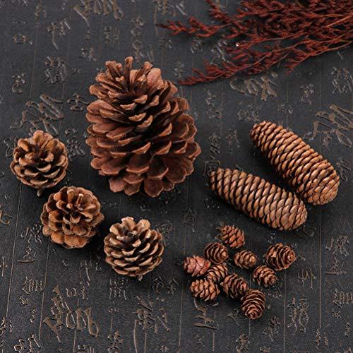 LIOOBO - Decoración navideña con piñas de abeto, decoración de árbol de Navidad natural, decoración artesanal, piñas de abeto, decoración de fotos, accesorios para Navidad, hogar, cocina