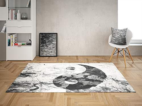 Oedim Alfombra Ying Yang Pintura para Habitaciones PVC   95 x 165 cm   Moqueta PVC   Suelo vinílico   Decoración del Hogar   Suelo Sintasol   Suelo de Protección  