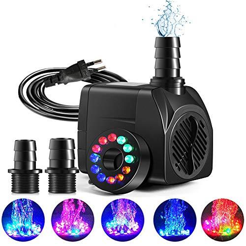 KNMY Bomba de Agua Micro Fuente, 25W 1800L/H Bomba de Agua Sumergible, con 12 LED de luz Multicolor, para Estanque de Jardín Tanque de...
