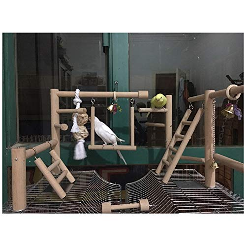 QBLEEV Bird Cage Play Stand Toy Set-Birdcage Wood Stands Hanging Chew Toys Ladder Swing Parrot Perch Play Gym Playground Accessories Activity Center for Conure, Parakeets, Budgie, Cockatiels,Lovebirds
