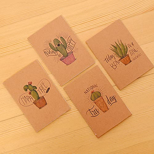 PPuujia Lote de dibujos animados pequeño cuaderno de papel, diario, papelería, regalos para niños (color de la serie de cactus)