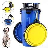 RCruning-EU Botella de Agua para Perros Portatil Envase de Comida para Perros Un Conjunto de 2 Plegable Tazones para Perros Gatos Mascotas Adecuado para al Aire Libre, Caminar, Viajar Azul
