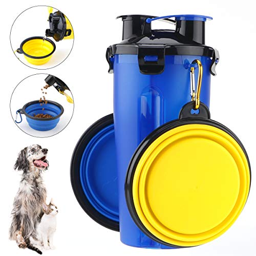 RCruning-EU Tragbare Hund Katze Haustiere Wasserflasche Travel Trinkflasche Wasser Schüssel 2 Silikon hundenapf faltbar Wassernapf für Camping, Spaziergang, Wandern, Training, Unterwegs Blau