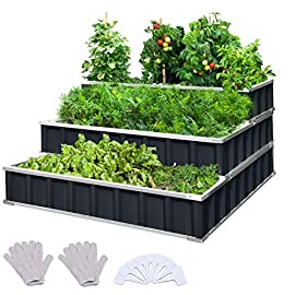 KING BIRD 3 Tiers Raised Garden Bed Dismountable Frame Galvanized Steel Metal Patio Garden Elevated Planter Box 46''x46… 9 【Use it as 3 Individual Raised Bed】--- Each tier is connected by the fastener connectors, and you can take the connectors down to make the whole raised bed to 3 individual raised garden bed and get more cultivated area. Or used as 3 tiers raised bed to plant 3 different needs plants. Capacity 21 Cu Ft of Soil 【THREE YEARS WARRANTY】--- The most wonderful design of our KING BIRD raised garden bed is not only about the convenient and fast installation without tools, also for its smart design to vastly increase the loading ability and capacity. THREE YEARS WARRANTY for the whole raised bed. 【Multilayer Galvanized Paint】--- Upgraded multilayer galvanized paint efficiently prevents rust and continues to beauty; also never worry about that the rain damage the wood garden bed; galvanized steel garden bed provides a lasting use and no discoloration. No painting inside, no worries about the damage for plants.