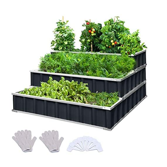 KING BIRD 3 Tiers Raised Garden Bed Dismountable Frame Galvanized Steel Metal Patio Garden Elevated Planter Box 46''x46… 1 【Use it as 3 Individual Raised Bed】--- Each tier is connected by the fastener connectors, and you can take the connectors down to make the whole raised bed to 3 individual raised garden bed and get more cultivated area. Or used as 3 tiers raised bed to plant 3 different needs plants. Capacity 21 Cu Ft of Soil 【THREE YEARS WARRANTY】--- The most wonderful design of our KING BIRD raised garden bed is not only about the convenient and fast installation without tools, also for its smart design to vastly increase the loading ability and capacity. THREE YEARS WARRANTY for the whole raised bed. 【Multilayer Galvanized Paint】--- Upgraded multilayer galvanized paint efficiently prevents rust and continues to beauty; also never worry about that the rain damage the wood garden bed; galvanized steel garden bed provides a lasting use and no discoloration. No painting inside, no worries about the damage for plants.
