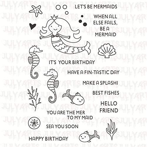 Ocean Zeemeermin Letter Stempel en Sterft Duidelijke Postzegels Metaal Snijmatrijzen voor Scrapbooking 11 * 16cm Stempel 10 * 8,9 cm Craft Dies Only Clear Stamp