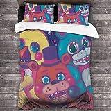 Juego de ropa de cama de 3 piezas de 2016 x 180 cm, Five Nights at Freddys Juego de edredón con 2 fundas de almohada cuadradas suaves para dormitorio de las mujeres