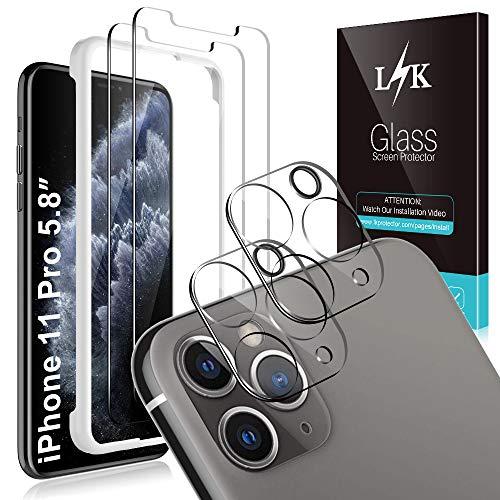 L K [4 Stück] 2 Stück Kamera Panzerglas für iPhone 11 Pro 5.8''+ 2 Stück Schutzfolie Panzerglas, [Bubble Free] [Anti-Kratzer] HD Klar Kameraschutz Folie Gehärtetem Glas Displayschutzfolie